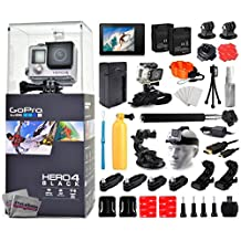 GoPro Hero 4 HERO4 Black Edition CHDHX-401 with LCD Display + Selfie Stick + 2 Batteries + Travel Charger + Floating Bobber + 360 Degreet Mount + HDMI Cable + Wrist Strap + Cleaning Kit + More
