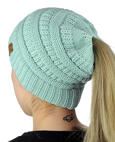 C.C BeanieTail Soft Stretch Cable Knit Messy High Bun Pon...