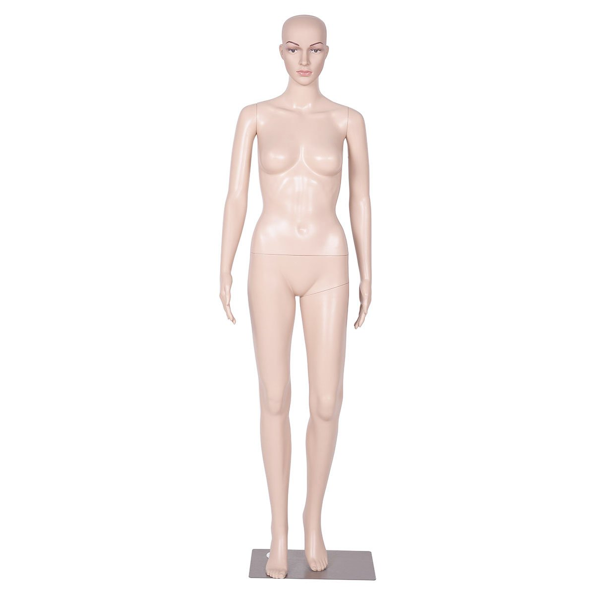 Giantex Female Mannequin Plastic Realistic Display Head Turns Dress Form w/Base (Natural Style 3) HW51119