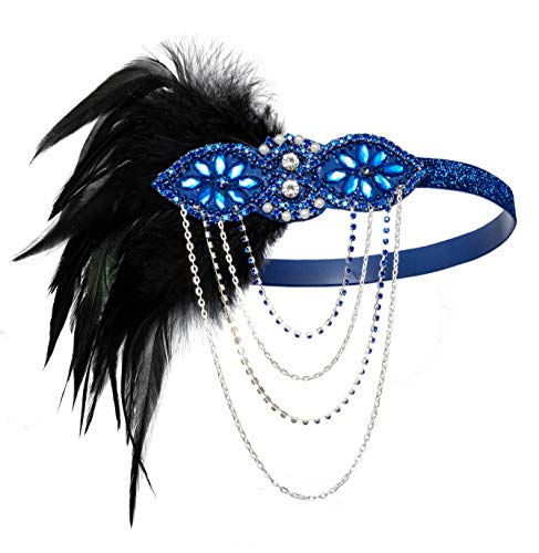 - 1920s Gatsby Flapper Feather Headband 20s Accessories Crystal Beaded Wedding Headpiece (G-Blue)