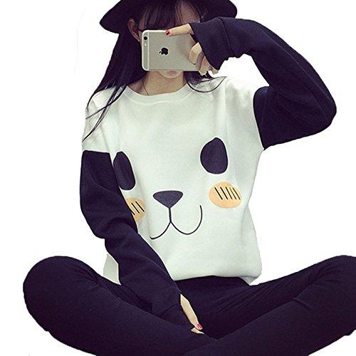 Du Cartoon Cravog shirt 2016 Polaire Automne Imprimé Sport Blanc Longues Manches Chaud Femmes Sweater Sweat Tops Hiver Mode Panda À wxfqrxY6