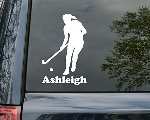 Minglewood Trading Field Hockey Girl Player Vinyl Decal Sticker with Custom Personalized Name 6