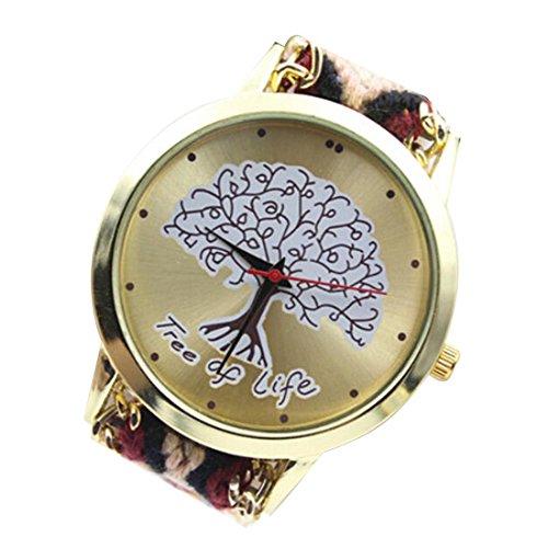 Meily♥TM Women Tree Of Life Pattern Knitting Bracelet Watch
