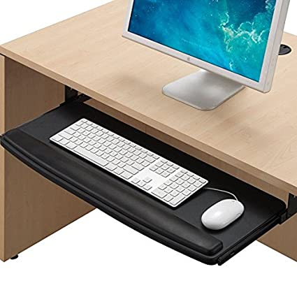 Rife Extra Wide 28 Inch Pull Out Under Desk Keyboard Drawer Tray With Wrist Rest Black Amazon In Computers Accessories