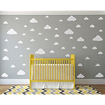 Amazon.com: White Clouds Sky Wall Decals - Easy Peel + Stick 50 ...