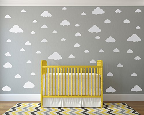 White Clouds Sky Wall Decals - Easy Peel + Stick 50 Clouds Pack - Kids Playroom Nursery Sky Baby Boy Girl - Vinyl Sticker Art Large Decoration Graphic Decor Mural (Best Paint For Nursery Walls)
