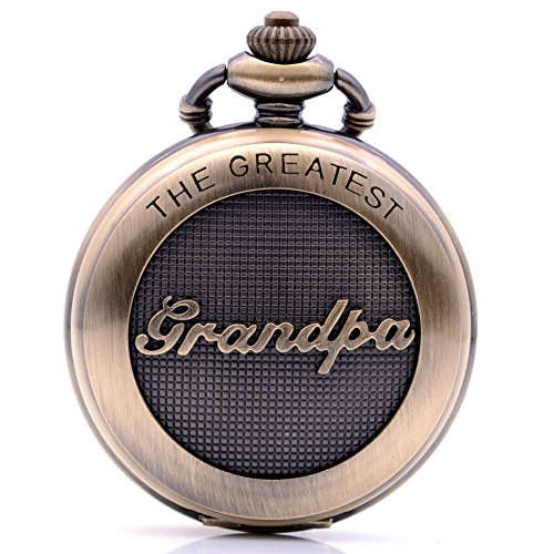 Vintage Bronze The Greatest Grandpa Quartz Pocket Watch with Chain, Pendant Necklace Fob Watch Gift for Grandpa with Box