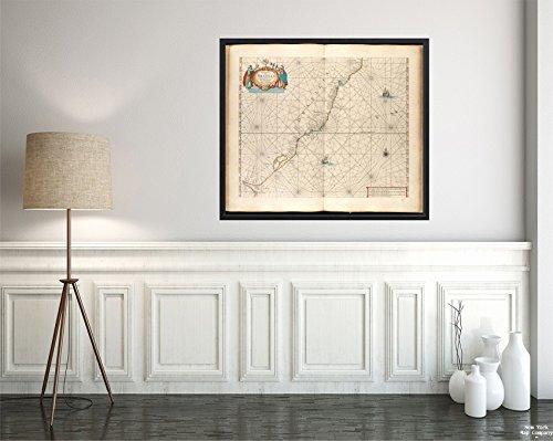 1660 Map Brazil Sul Atlantic Ocean Paskaert Van Brasilia Van Pernambuco TOT C. de S. Antonio Ma Historic Antique Vintage Reprint Ready to Frame