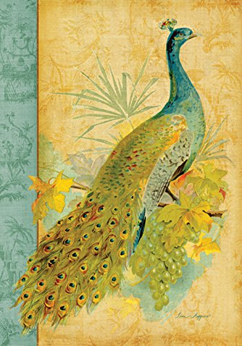 Toland Home Garden Fancy Feathers 12.5 x 18 Inch Decorative Peacock Feather Colorful Bird Garden Flag