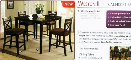 5 Pc. Weston II Contemporary Style Espresso Wood Finish