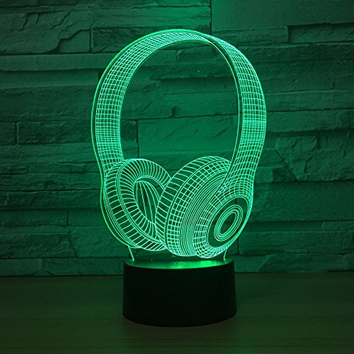 3D headphones skull shape night light, Illusion Lamp,7 color change decorative lights, kids toys Christmas gift touch…