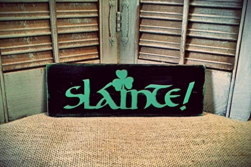 Wooden Sign Decorative Slainte Cheers Irish Sign Pub Sign Bar Sign Man Cave Decor Beer Sign Bar Decor Hand Plaque Printed Farmhouse Style Wall Sign