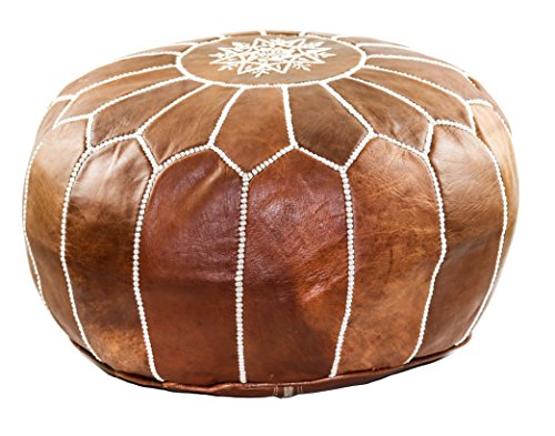- GRAN Handmade Leather Moroccan Pouf Footstool Ottoman | Brown Genuine Leather with Hand Embroidered White Stitching | Unstuffed