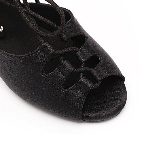 DLisiting Latin Dance Shoes Women Black Satin Lace up Salsa Ballroom Shoes (US7) by DLisiting (Image #6)