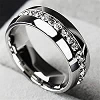 Siam panva Sz5-13 Men/Women CZ Couple Stainless Steel Wedding Ring Titanium Engagement Band (9 Silver)