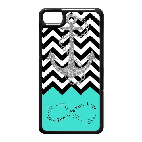 Live the Life You Love, Love the Life You Live. Turquoise Black White Chevron with Anchor luxury cover case for BlackBerry Z10(Black)ALL MY DREAMS