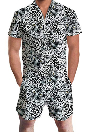 - UNIFACO Men Short Sleeve Romper White Tiger Hawaiian Aloha Tropical Jumpsuit One Piece Overalls