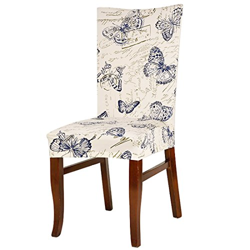 uxcell Dining Chair Cover,Stretch Bar Stool Slipcover Kitchen Chair Protector Spandex Pattern Chair Seat Cover for Home Decorative/Dining Room/Party/Wedding (Medium, 1)