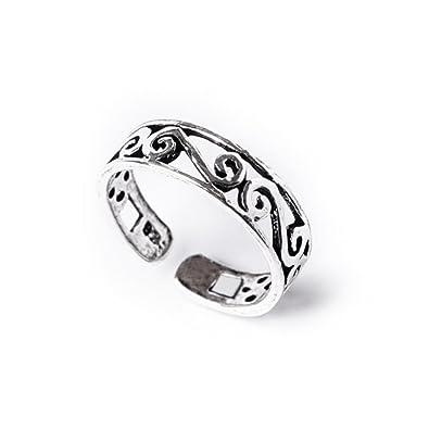 81stgeneration Women's .925 Sterling Silver Swirl Midi Finger Adjustable Toe Ring dum1Y