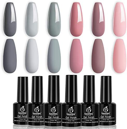 Beetles BRIDESMAID BEAUTY Classic Gel Nail Polish Set - Nude Gray Pink 6 Colors Gel Polish Kit Popular Nail Art Design Soak Off LED Lamp Nail Polish Gel Manicure Kit Christmas Gifts New Year Holiday Set
