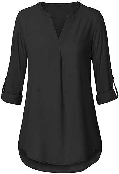 2019 Moda para Mujer Verano Otoño Bufanda Elegante Blusa De Botón Moda Completi De Manga Larga Sólida Blusa Tops Camisa con Bolsillos: Amazon.es: Ropa y accesorios