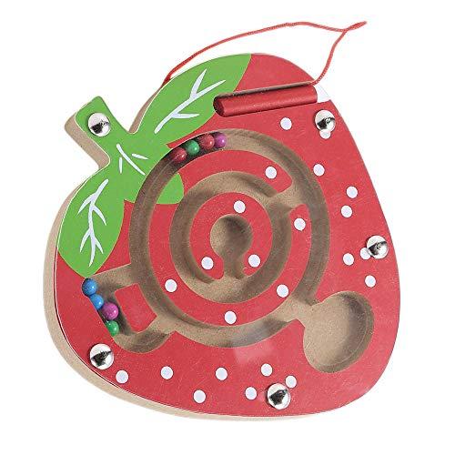(Hisoul Children Magnetic Maze Puzzle Educational Toys Wooden Maze Racing Game Toy Mini Wooden Fruit Shape Board Maze, Watermelon/Strawberry/Apple/Orange, 5.9