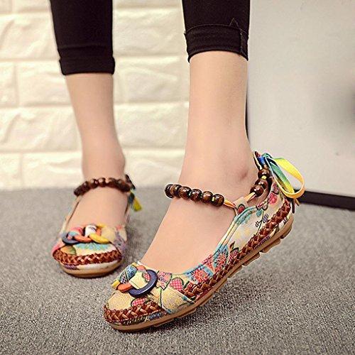 Inkach Women Flat Sandals - Bohemian Beaded String Summer Sandals - Ankle Wrap Shoes Flip Flops Multicolor 8MxO8VO2A