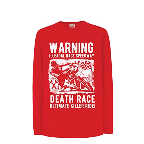 lepni.me Niños/Niñas Camiseta Carrera de la Muerte: Paseo definitivo, Carreras de Motos, Motorista de cráneo, clásico,...