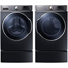 """Samsung Appliance Onyx Front Load Laundry Pair with WF56H9100AG 30"""" Washer, DV56H9100GG 30"""" Gas Dryer and 2 WE302NG Pedestals"""