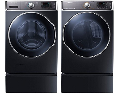Samsung Appliance Onyx Front Load Laundry Pair with WF56H9100AG 30' Washer, DV56H9100GG 30' Gas Dryer and 2 WE302NG Pedestals