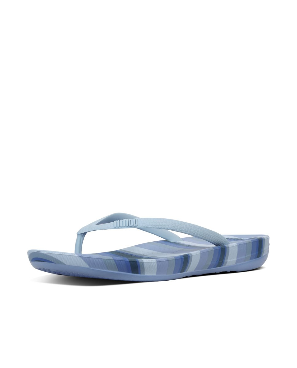 FitFlop Damen Iqushion Ergonomic Flip-Flops Peeptoe Sandalen, Gold  8 UK|Blue Stripey