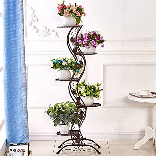 Balcony flower multilayer living room office floor ?? height iron flower pot-B by Flower racks
