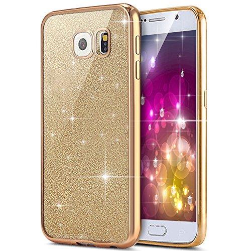 Funda Samsung Galaxy S6 Edge Plus Cover Samsung G928,Ukayfe Funda 360 Doble Delantera + Trasera Gel Transparente Silicona Gel para Samsung Galaxy S6 Edge Plus Samsung G928,Samsung Galaxy S6 Edge Plus  Glitter Oro