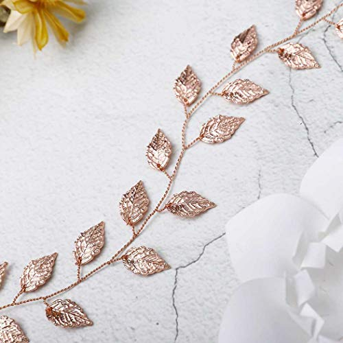 Yean Wedding Headband Gold Leaf Bridal Headpieces for Bridesmaid and Flowergirls (15.7 Inches) (Rose Gold)