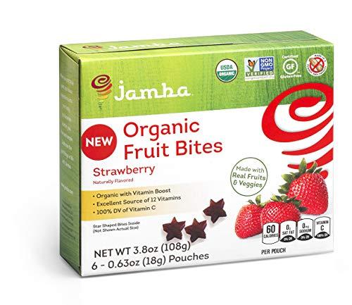 Jamba Organic Fruit Bites | Non-GMO, Gluten Free, Vegan Healthy Snacks (6 Boxes with 6 Pouches In Each Box - 36 Pouches / 22.8oz Total) (Strawberry)