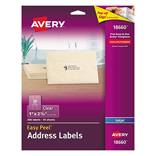Avery Easy Peel Mailing Labels for Ink Jet Printers, 1 x 2-5/8 Inches, Clear, Pack of 300 (18660) 300 X Label