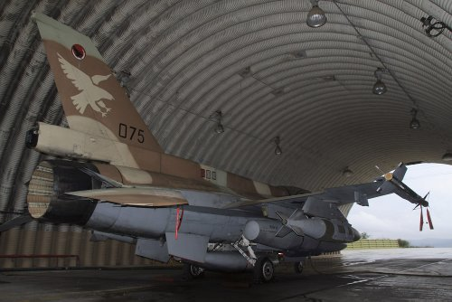 An F-16d Barak of the Israeli Air Force Armed with Jdam Bomb Wall Decal - 52 Inches W x 35 Inches H - Peel and Stick Removable Graphic