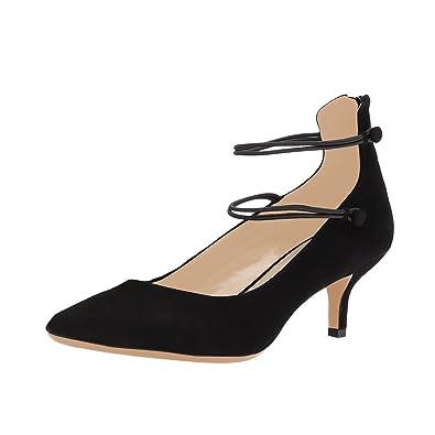 0ef9d7fa301 NJPU Chic Low Heels Pumps for Women Pointed Toe Ankle Wrap Kitten Party  Dress Shoes Black