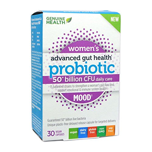 Genuine Health Advanced Gut Health Probiotics for Women's Mood Support, 50 Billion CFU, 15 Diverse Strains, Non GMO, Dairy Free, Gluten Free, Soy Free, Vegan Delayed-release Capsules, 30 Count