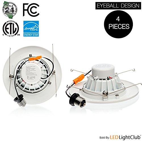 Parmida (4 Pack) 6 inch LED Adjustable Gimbal Downlight, Dimmable, 15W (120W Replacement), Rotatable Eyeball Retrofit Recessed Trim, 3000K (Soft White), 1060LM, ENERGY STAR & ETL-Listed by Parmida LED Technologies (Image #2)