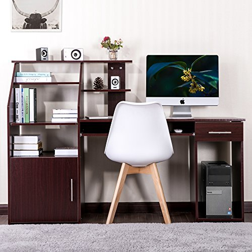 Harper&Bright Designs Multi-functions Computer Desk with Cabinet (Brown..) (Desk Cabinet With Cpu Computer)