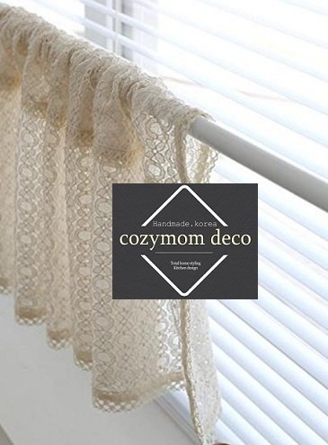 Beige Lace Handmade Natural Cotton Cafe Curtain, Kitchen Curtain Valances, European Rural Fashion Window Curtain for Home, One Piece 48(w)x155(l)cm Review