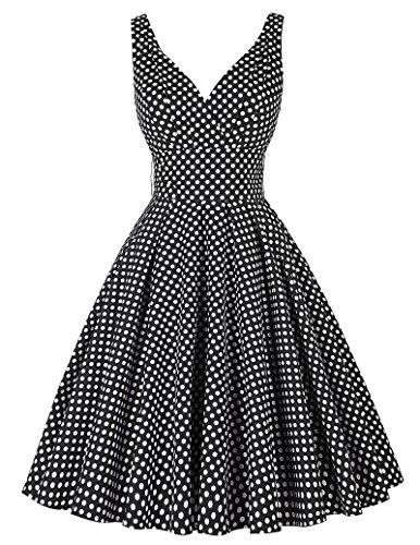 PAUL JONES Women's Deep V-Neck Polka Dot Vintage Party Dress Black(L)