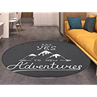 Adventure Round Area Rug Say Yes to New Adventures Typographic Quote with Scribble Mountains Living Dinning Room & Bedroom Rugs Charcoal Grey and White