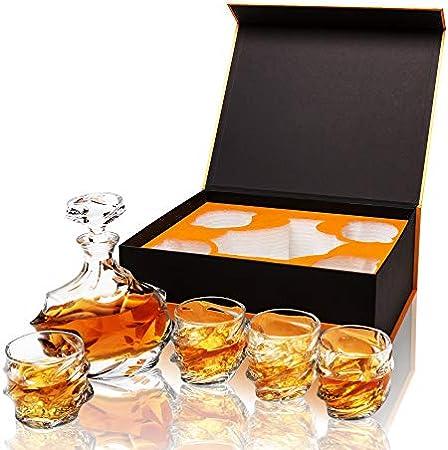calliva von 5 Piezas Vasos y Jarra de Whisky Cristal Sin Plomo, 750 ml Decantador de Whisky con 4 Copas de Whisky 320 ml