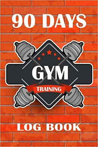 90 days gym training log book retro style fitness journal workout