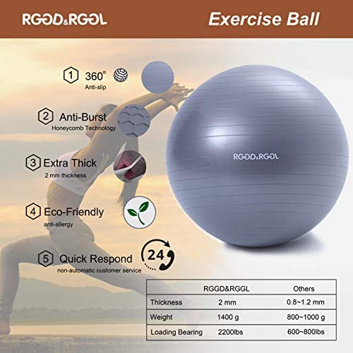RGGD&RGGL Yoga Ball Chair, Exercise Ball with Leak-Proof Design, Stability Ring&2 Adjustable Resistance Bands for Any Fitness Level, 1.5 Times Thicker Swiss Ball for Home&Gym&Office&Pregnancy (65 cm) 5