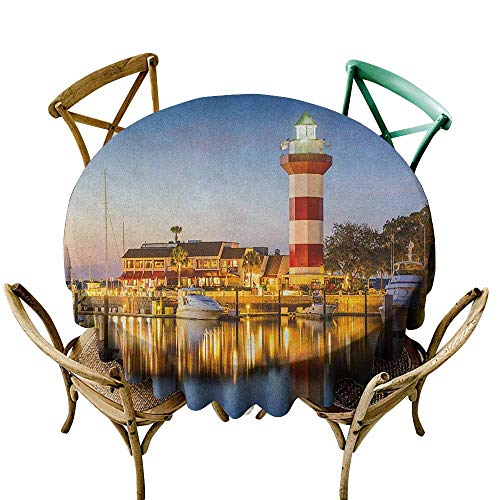 Sunnyhome Spill-Proof Table Cover United States Hilton Head South Carolina Lighthouse Twilight Water Reflection Boats Idyllic Multicolor Table Cover for Kitchen Dinning Tabletop Decoratio 60 INCH