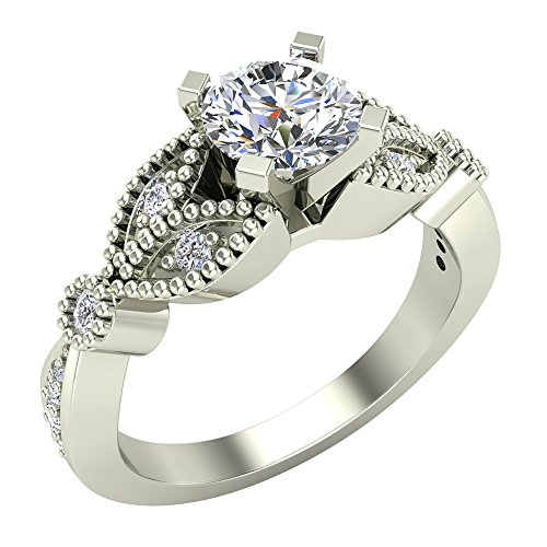 Leaflet 9 Designs (0.96 ct tw Solitaire Diamond Leaflet Shank Wedding Ring 18K White Gold (Ring Size 9))