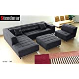 4pc Modern Dark Grey Microfiber Sectional Sofa Chaise Chair Ottoman S1107LDG